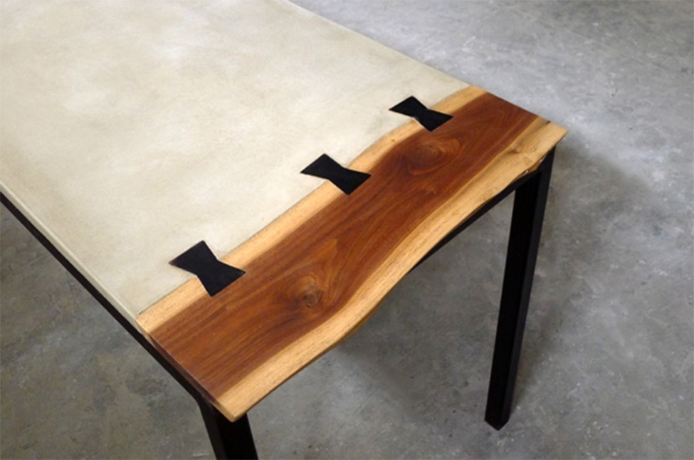Concrete Meets Wood Desk Bespokebug