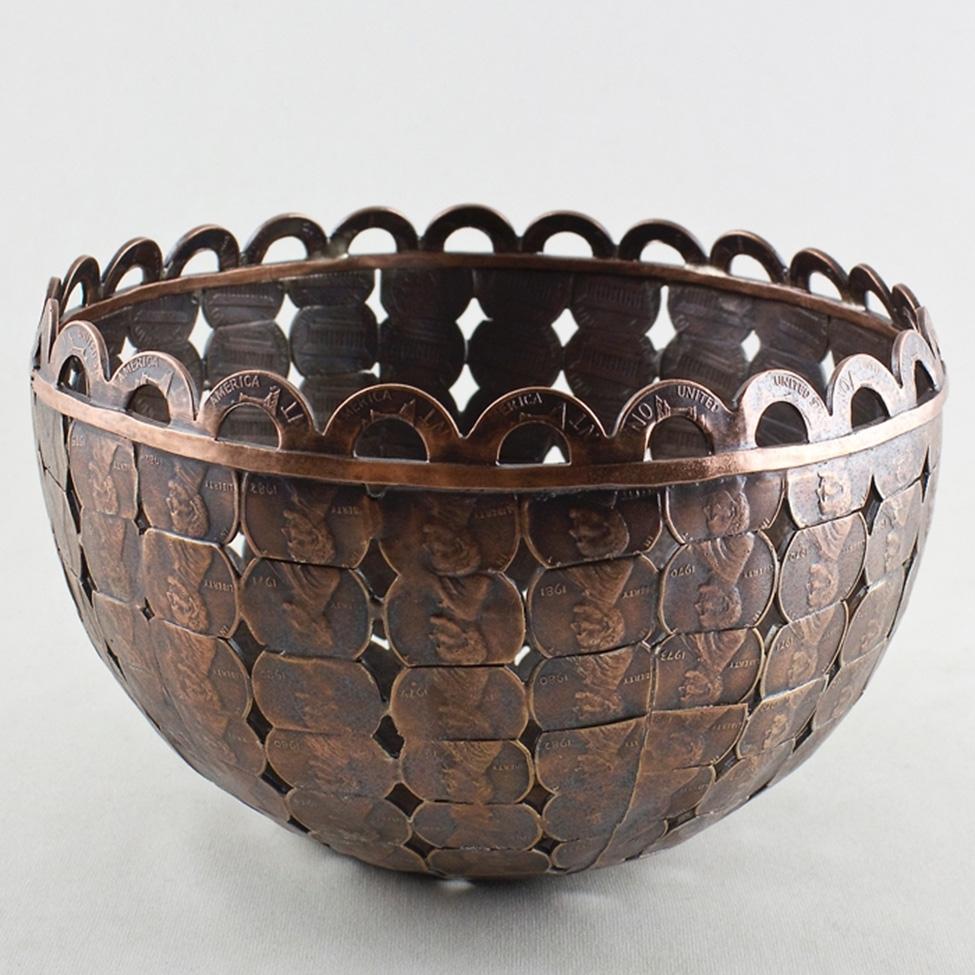 hand cut penny bowl bespokebug