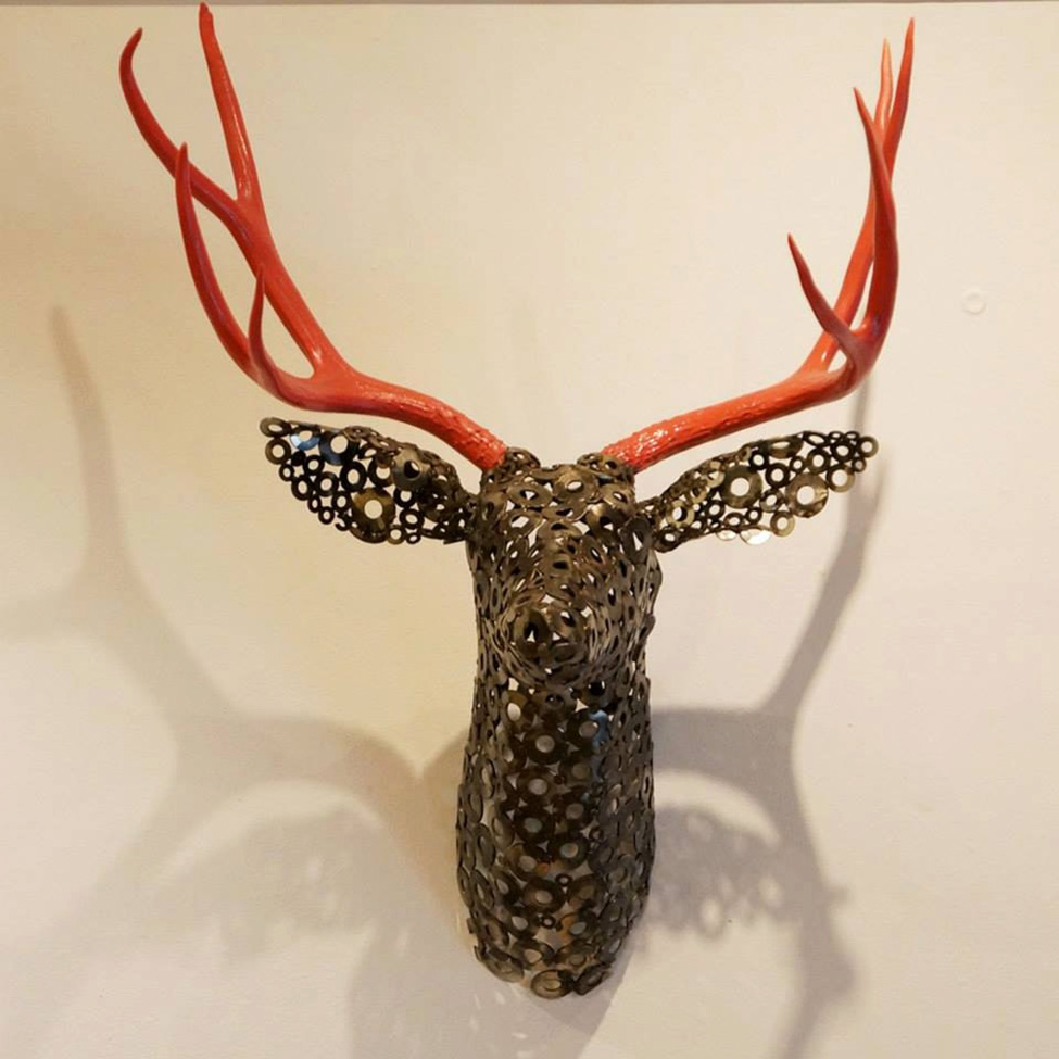 Metal Deer Mount Sculpture Bespokebug