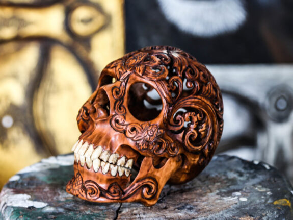 carved-wooden-human-skull